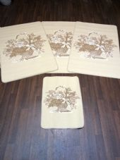 ROMANY GYPSY WASHABLES  SET OF 4 MATS/RUGS CREAM/BEIGES NON SLIP BASKET DESIGN